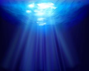 Sun rays underwater. Vector illustration.