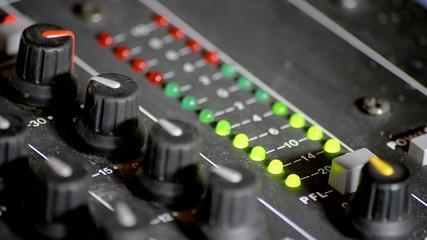Digital VU meters in a mixer table