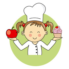 Girl with apple and cake
