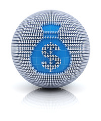 Money bag icon on globe formed by dollar sign, 3d render