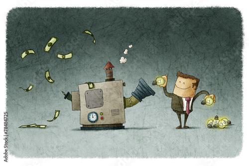 Businessman transforms ideas for money - 78484725