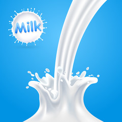 Splashes of milk. Vector illustration