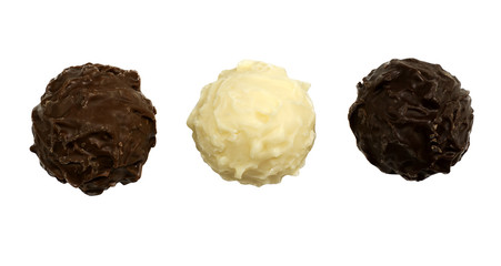 Brown, white and dark chocolate truffles
