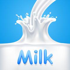 Splashes of milk. Vector illustration
