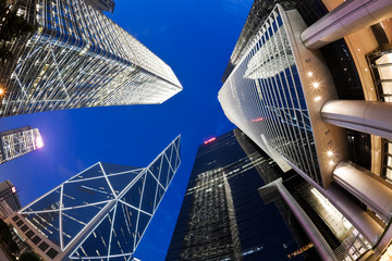 Fisheye view of skyscrapers in Hong Kong