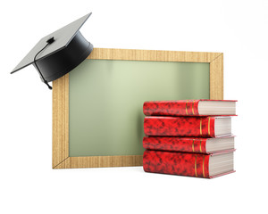 Blackboard with graduation cap and stack of books