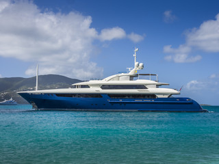 A large private motor yacht under way out at sea