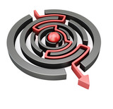Red arrow crossing circular maze