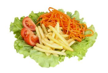 vegetarian lunch. potatoes, carrots, tomatoes