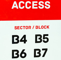 Access sign at the entrance of the sport stadium