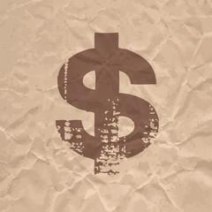 Dollar flat grunge icon on crumpled kraft paper.