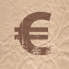 Euro flat grunge icon on crumpled kraft paper.