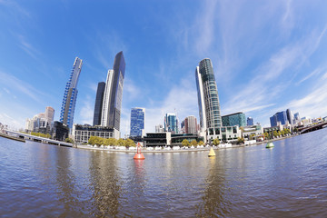 Fisheye view of Melbourne in the daytime