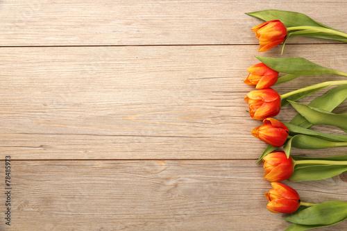 canvas print picture Tulpen mit Holzhintergrund