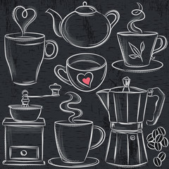 set cup of hot drink on blackboard, vector