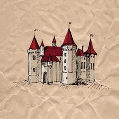 Medieval castle on crumpled kraft paper texture.