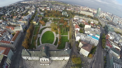 Camera flying above presidential palace in Bratislava
