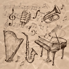 Set of hand drawn musical instrument icons.