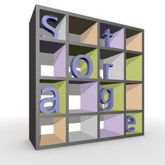 Closet with letters forming the word Storage