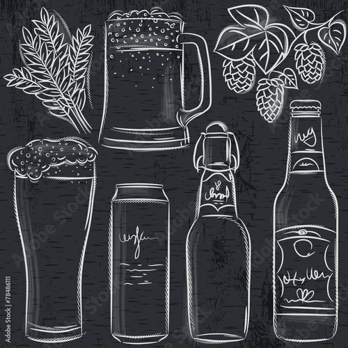 set of beer bottle on blackboard, vector - 78486111
