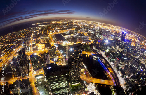 Foto op Canvas Australië Fisheye view of Melbourne CBD , Australia