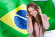 Woman Listening Brazilian Language Audiobook