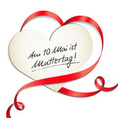 Herzkarte mit Schleife - Muttertag 2015