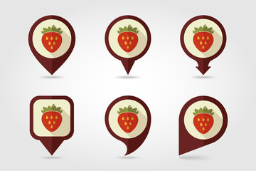 Strawberry mapping pins icons