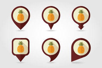 Pineapple mapping pins icons