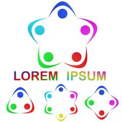 Multicolor unity logo design set