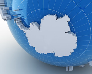 Globe with Antarctica, 3d render
