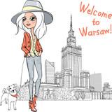 Fototapety Vector beautiful fashion girl in Warsaw