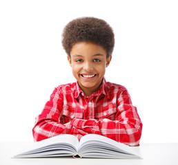 Happy African American school boy