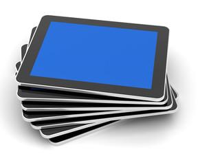 Stack of generic tablets, 3d render