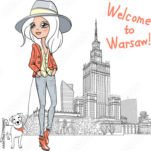 Vector beautiful fashion girl in Warsaw