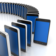 Group of generic smartphones with one standing out, 3d render