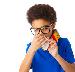 African American boy with nasal spray, allergy or sick
