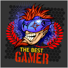 The Best Gamer -  T-Shirt Design Vector