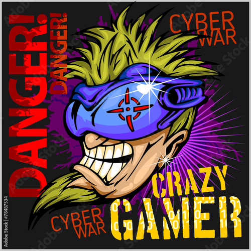 Crazy Gamer -  Emblem for T-Shirt - 78487534
