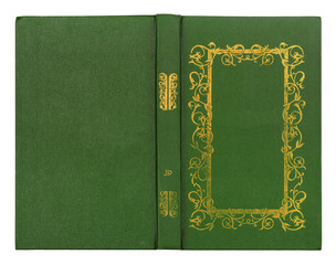 Green leather book cover with gold pattern isolated on white bac