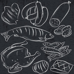 set of different meats on blackboard , vector