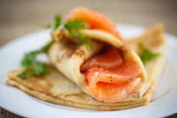 stack of pancakes with salted salmon