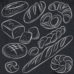 set of different breads on blackboard, vector