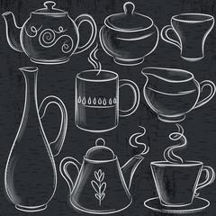 set of different  tableware on blackboard, vector