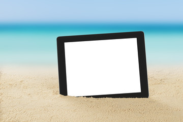 Digital Tablet On Sand