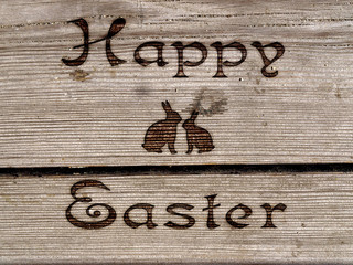 Happy Easter - burned an inscription on a wood.