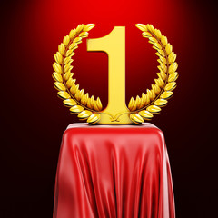 3d gold trophy on red silk pedestal