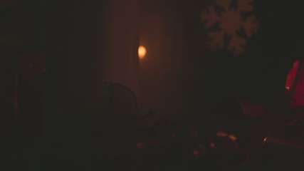 Lantern With Burning Candle at Night