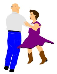 elderly man dancing with younger woman country style