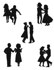 country square dancers in silhouette